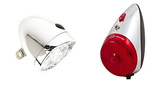 FRI Nostalgie Chrom LED Fahrradlampe Frontlicht und Rücklicht für Hollandrad #45302