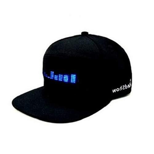 QIjinlook Hut LED Beleuchtung Tribly Party - Unisex-Erwachsene Magenta Kappe Base Cap Schildmütze Einstellbarer Baseball Blitz Käppi mit LEDs Blinkt für Club Bar Sportlich Reise Sport (Schwarz)