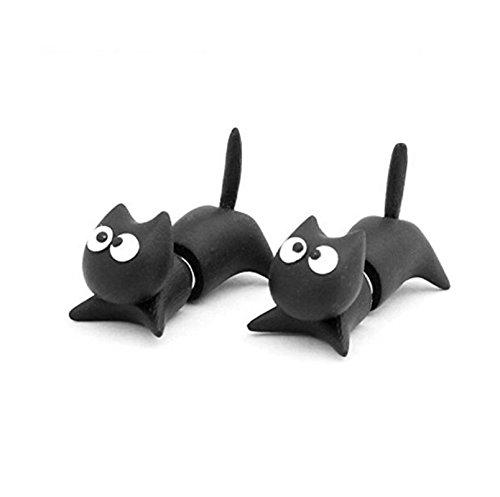Omeny Arcilla hecha a mano del polímero Gato lindo de la historieta a través de sus pendientes del perno prisionero del oído (Negro)