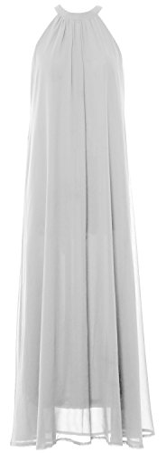 MACloth Women Sleeveless Halter Chiffon Long Evening Gown Formal party Dress white