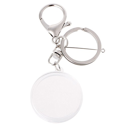 SimpleLife Acryl-Münzhalter-Kapsel mit Pad-Ring für 30mm 27mm-Schlüsselanhänger Alloy Keychain-1 x Münzkapsel mit Schlüsselring + 1 x Soft Pad, Silber - Lagerung Silber-münze