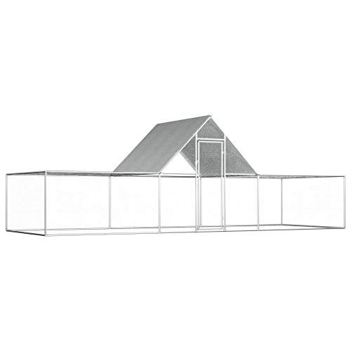 Tidyard pollaio in acciaio zincato, con tetto impermeabile, gabbia da esterno, pollaio per polli, galline, anatre, oche, ecc, argento 6x2x2 m