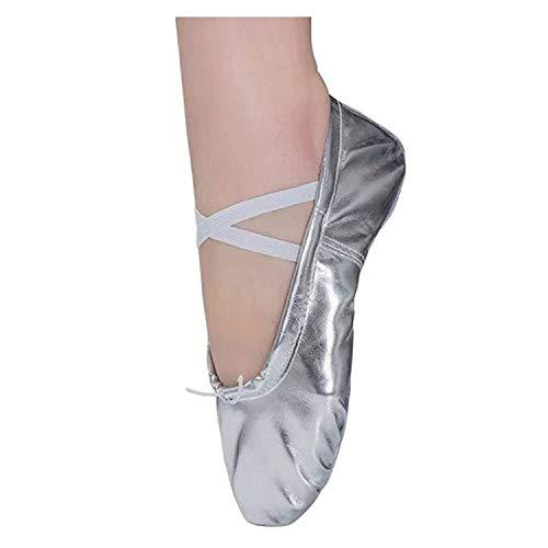 Ballettschläppchen Mädchen Ballett Tanzschuhe Kinder Ballettschuhe Damen Ballerinas Training Schläppchen Spitzenschuhe Silber Gr.41