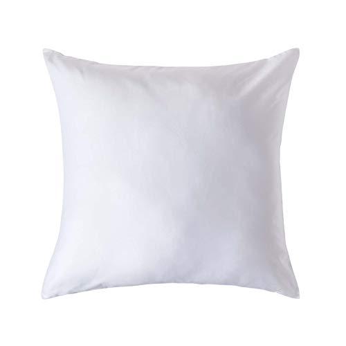 Homescapes Kissenbezug 80 x 80 cm - 100% Bio-Baumwolle Fadendichte 400 Perkal - Kissenhülle mit Reißverschluss - weiß -