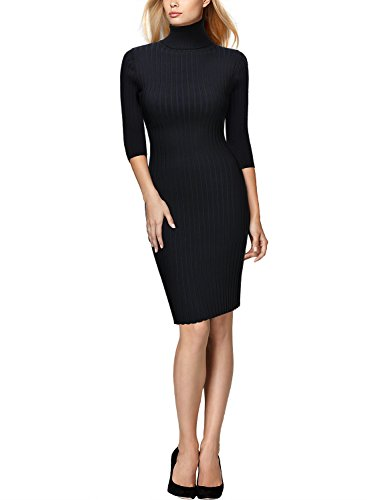Miusol Wollkleid Strickkleid hoher Kragen figurbetontes Kleid