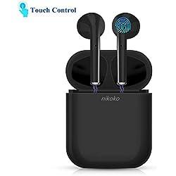 nikoko Auriculares Inalámbricos Control Táctil Bluetooth 5.0 Auriculares con Microfono para Moviles Auriculares Deportes con Caja de Carga Compatible con Moviles Android iOS Negro