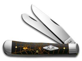 CaseXX XX Gold Spider Web Black Delrin Trapper 1/500 Stainless Pocket Knife Knives