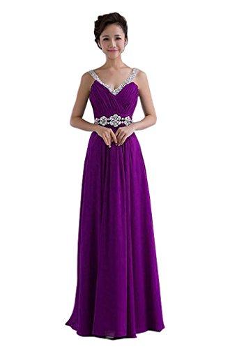 Edaier Damen Straps Korsett zurück Chiffon Lange Promkleid Formal Abendkleid Größe 36 Lila