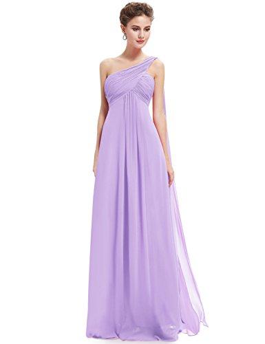 Ever Pretty Damen Lange One Shoulder Chiffon Abendkleider Festkleider 09816 Light Purple MDL(B)