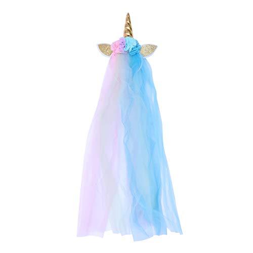 Lurrose Diadema de cuerno de unicornio con Velo y Flor Traje de disfraz de rendimiento de la etapa Banda de pelo para niños Niñas (Estilo A)
