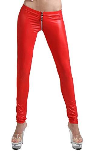 Miss Noir Damen Sexy Leggings im Wetlook Clubwear mit Zwei Wege Reißverschluss, Rot, S/M
