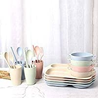6 Piece Bamboo Dinner Set for Children, Kids Dinnerware Set, Kids Plates, Bowl, Cup, Spoon, Fork, Chopsticks - Non Toxic & Eco Friendly, BPA Free and Dishwasher Safe (Pink)