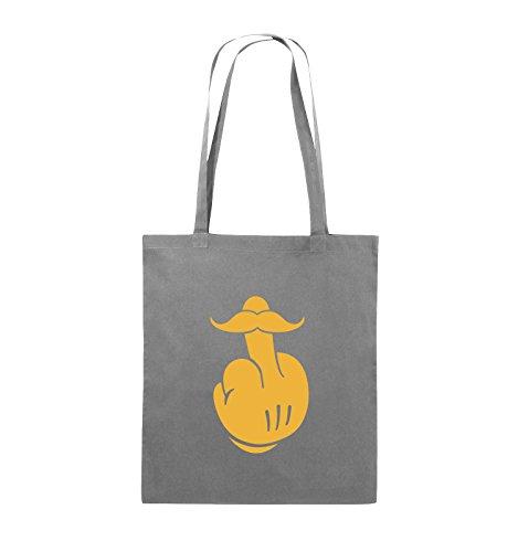 Comedy Bags - COMIC HAND FUCK - SCHNURRBART - Jutebeutel - lange Henkel - 38x42cm - Farbe: Schwarz / Silber Dunkelgrau / Gelb