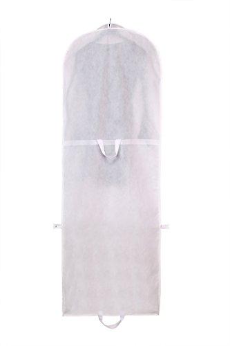Atmungsaktiver Kleidersack 180 cm Länge, Schutzhülle für Brautkleider / Abendkleider / Anzüge / Mäntel - Langer Reissverschluss - mit Zwei Taschen für Zubehörteile - Weiss TKB1001-white