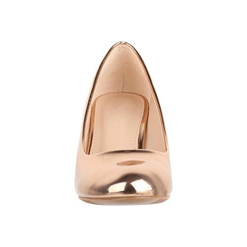 Elara Damen Pumps | Bequeme High Heels Lackoptik Trichterabsatz | Vintage-Style | Chunkyrayan 7056-P-Champagner-38 - 4