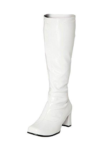 Gizelle Damen Karneval Go Go Stiefel 1960er & 70er Jahre Retro Größen 3-12, Weiß - weiße Lacklederoptik - Größe: 44 EU