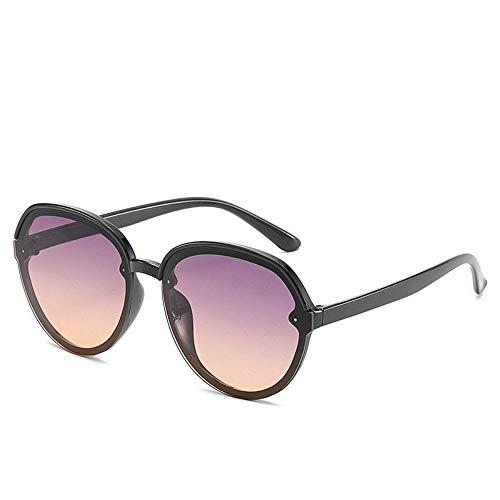 WDDYYBF Sonnenbrillen, Casual Übergroße Aviator Sonnenbrille Für Frauen Männer Aus Magnesiumlegierung Fashion Beach Reise Uv400 Schwarzen Rahmen Farbverlauf Lila Objektiv