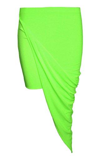 Womens Damen asymmetrischer Rock drapiert stürmten Wrapover Midi Seite Split Rock Schlitz (EU 40/42 UK 12/14, Neon Grün(Green)) (Seite Taille, Elastische Schlitz Rock)