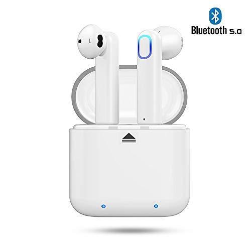Cuffie Bluetooth 5.0 Ayete Auricolari Bluetooth Senza Fili Invisibile mini cuffie auricolari in-ear wireless con MIC (Bianco)