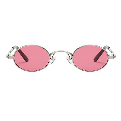 kimorn Sonnenbrille Kleine Runde Metallrahmen Oval Bonbonfarben Unisex Gläser K0577 (Schwarz) 59ElBgA