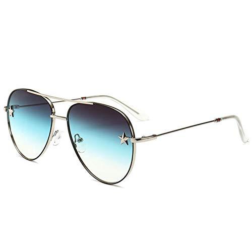 HYUHYU Pilot Aviation Sonnenbrillen Gradient Schwarz Braun Sonnenbrille Frauen Sexy Shades Top Mode Eyewear Stern Dekoration