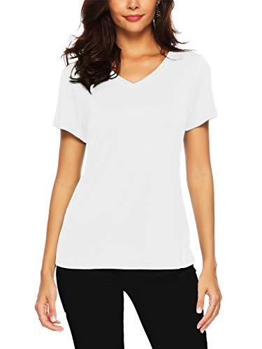 Weiße Baumwolle Blusen (AMORETU Sommer Tunika Tops Damen Casual Lose Oberteil Shirts Kurzarm v-Ausschnitt Bluse Baumwolle Weiß M)