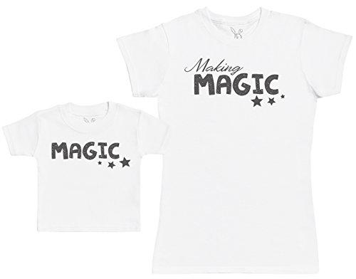 Making Magic - Ensemble Mère Bébé Cadeau - Femme T Shirt & bébé T-Shirt - Blanc - S & 0-3 Mois