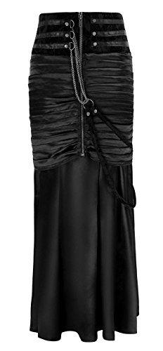 Charmian Women's Steampunk Gothic Victorian Ruffled Satin High Waisted Skirts Black X-Large (Black Womens Fish)
