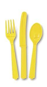 Unique Party- Cubiertos de plástico para 6, Color amarillo (30299)