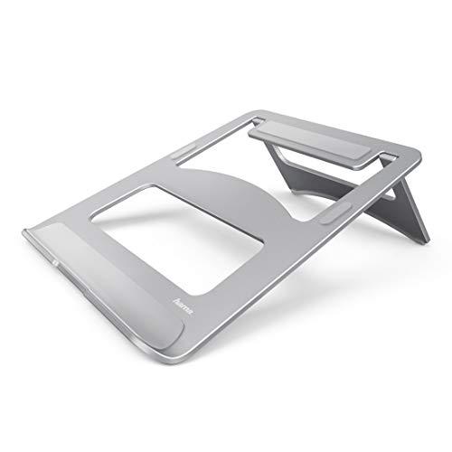 Hama Laptop-Ständer Notebook-Ständer aus Aluminium (Laptophalter für Geräte bis max. 15,4 Zoll / 39 cm, Erhöhung 7 cm, rutschfest, klappbar, optimale Laptop-Belüftung, Notebook Stand) silber