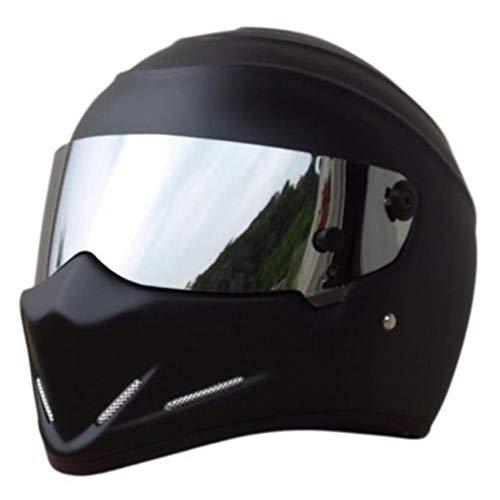 LEAGUE&CO Motorrad Helmets Helm Motorradhelm Helmets Alien Integralhelm Visier Offroad Racing Motocross für Honda Yamaha Suzuki Kawasaki Bandit Helm (M, Schwarz (Silber))