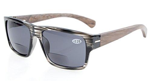 Eyekepper Qualitaet Federscharnier Holz Buegel Bifokale Sonnenbrillen Grau +1.75
