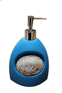 Distributeur à savon céramique + porte éponge - bleu - 660733092