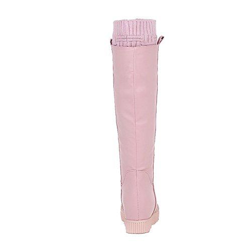 AgooLar Damen Rund Zehe Mittler Absatz Weiches Material Mitte-Spitze Rein Stiefel, Pink, 37