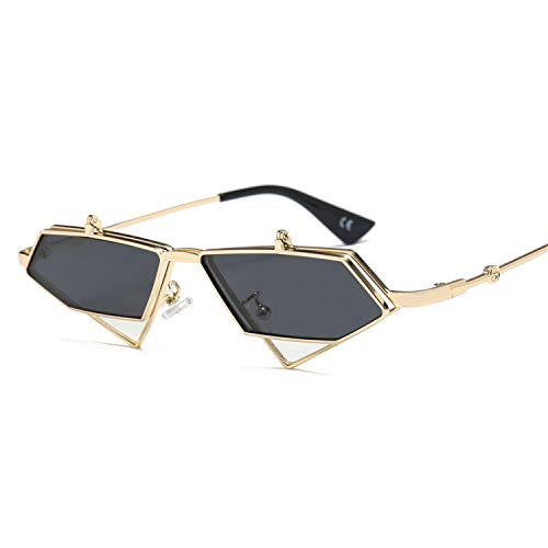 Sport-Sonnenbrillen, Vintage Sonnenbrillen, Gold Steampunk Flip Up Sunglasses Men Vintage Red Metal Frame Triangle Sun Glasses For Women NEW Uv400 as show in photo silver with clear