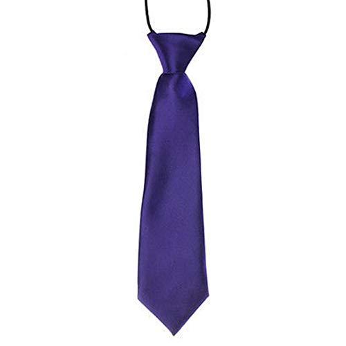 fanbufan Cravate Élastique des enfants pour mariage-Soie Polyester (Violet foncé)