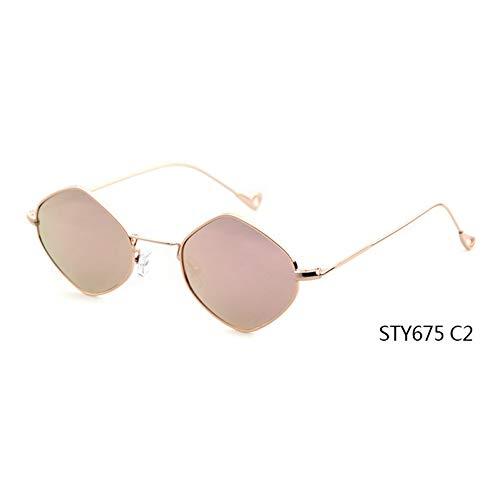 Taiyangcheng Pequeñas gafas de sol cuadradas Mujeres Hombres Moda Verano Estilo Marco de aleación Espejo Gafas de sol ópticas femeninas,C2
