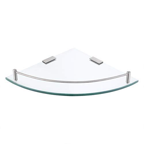 Kes, bgs2100-p, mensola angolare in vetro, di forma triangolare, per bagno, parete, doccia, mensola portaoggetti da doccia angolare in vetro temperato e acciaio inox sus 304, montaggio da parete