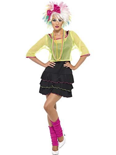 auen Frauen 80er Jahre Pop Tussi Rock Göre Kostüm mit Oberteil, Kleid und Haarban, perfekt für Karneval, Fasching und Fastnacht, M, Schwarz ()
