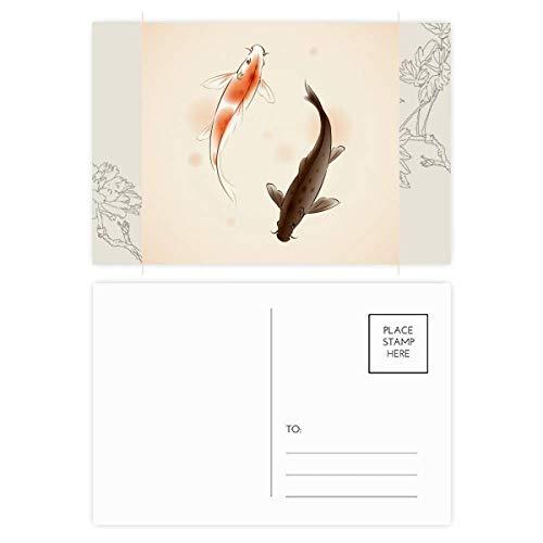 DIYthinker Tradicional china afortunado japonés Postal de la flor de los pescados fijados Gracias tarjeta de correo lateral 20Pcs 5,7 pulgadas x 3,8 pulgadas Multicolor