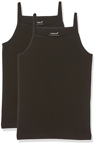 NAME IT Mädchen Top 2er Pack, Schwarz (Black Black), 128