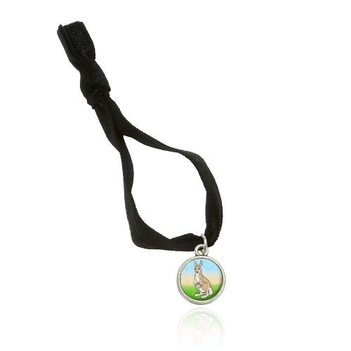 Kangaroo And Kid Bracelet Double Fold Over Stretchy Elastic No Crease Hair Tie With Charm
