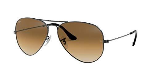 Ray-Ban RB3025 Aviator Gradient Unisex Sunglasses (Gunmetal Frame/Brown Gradient Lens 004/51, 55)