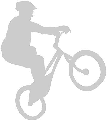 Samunshi® Fahrrad-Trial Aufkleber Trailbiker in 8 Größen und 25 Farben (7x8cm silbermetalleffekt)