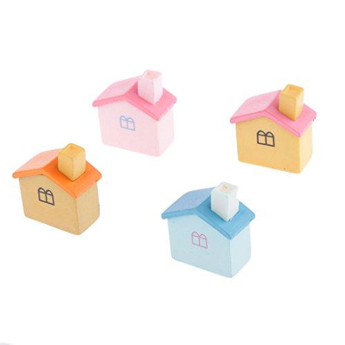 Set Di 4 Piccolo Bungalow Micro Mestiere Paesaggio Giardino Di Casa Arredamento In Miniatura # 1