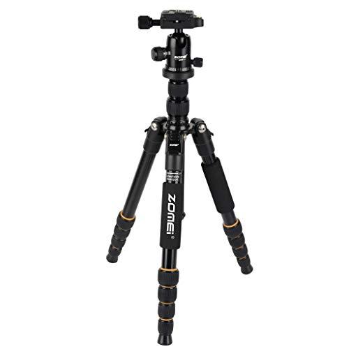 JIJI886 ZOMEI Q666 Spezielle Kamera Stativ, Tragbar Aluminum Reisestativ mit Einbeinstativ und 360° Panorama Kugelkopf Kamera Stativ Reisestativ Last bis zu 15kg für Canon DSLR Camera (Schwarz) (20-megapixel-dslr-kamera)