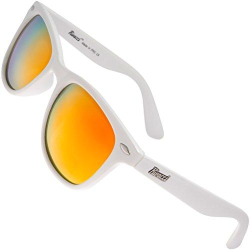 Rivacci Unisex's Wayfarer White Frame / Red - Gold Mirror Lens Medium 49mm Polarized Sunglasses