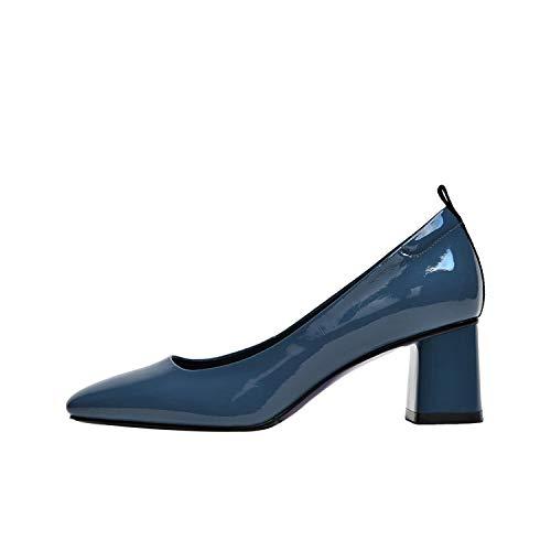 Leder Pumpen-Frauen-quadratische Zehe-Schuhe Flache Schuhe Büro Female-Absatz-Schuhe Frau, Blau, 5 (Rockport-pumpen-frauen-schuhe)
