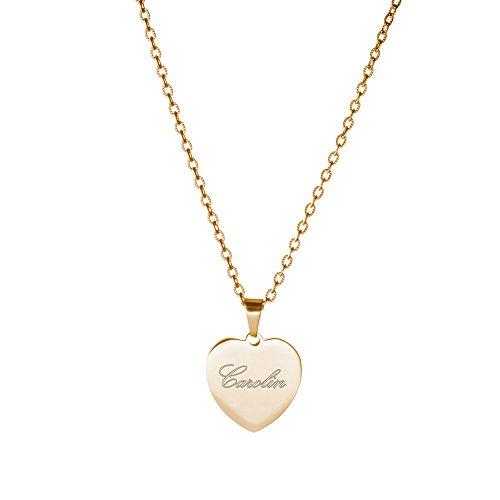 s Gold-Edelstahl mit Herz-Anhänger - Personalisiert mit Namen - Damen Schmuck - inkl. Geschenkbox - Länge 50 cm ()