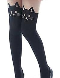 Demarkt® Elegant Leggings Collant Elastique/Bas avec Dessin Tete de Chat dans le Haut et Noir dans le Bas Taille Unique
